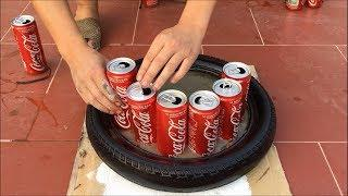 No idea - Creative fun at work - Making flower pots from Tires and cans CoCa CoLa | cement craft diy